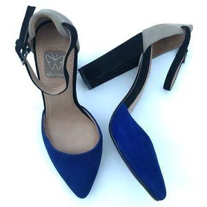 Ella Moss Janie Colorblock Suede Ankle Strap Heel